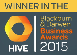 Winner in the Hive Blackburn & Darwen Business Awards 2015